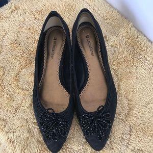 Naturalizer Beaded Flower Black Heel Shoes